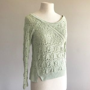 Anthro knitted & knotted stitches crochet sweater